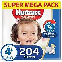 HUGGIES Ultra Comfort Diapers, Size 4+, Jumbo Pack, 10-16 kg, 204 Diapers