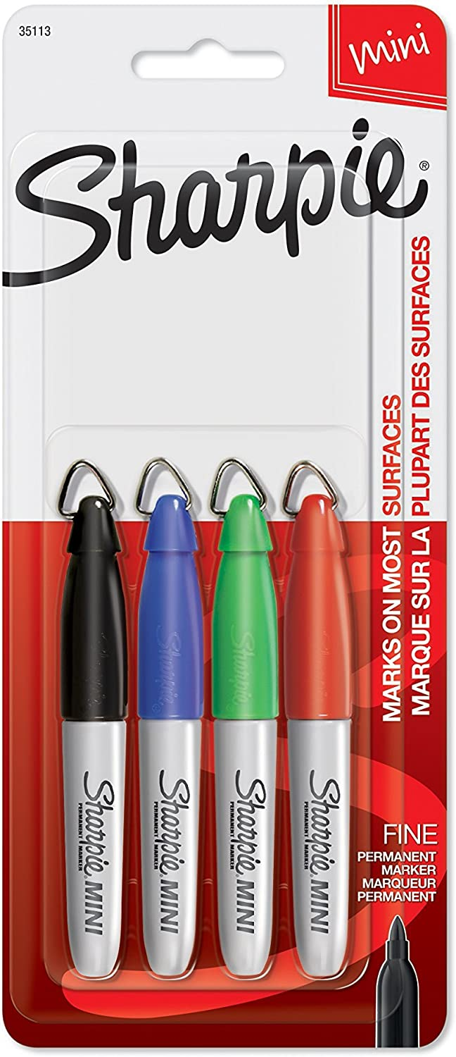 Mini Permanent Markers Fine Point 4 Count Assorted Colors