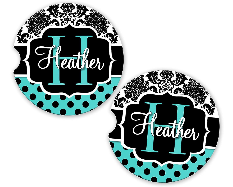 BrownInnovativeMedia Aqua Damask Polka Dots Personalized Monogram Sandstone Car Cup Holder Matching Coaster Set