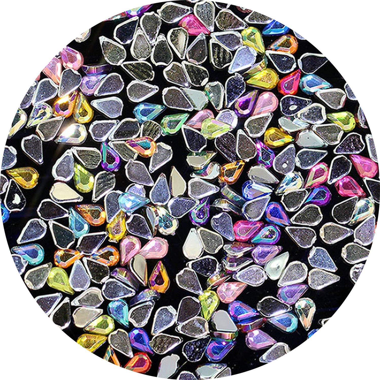 1 Pack 200pcs Nail Art Rhinestones AB Colour Acrylic Nail Stones 1.5mm3mm Mini Tiny Gems Raindrop Design For Decorations,00 Mix Color by Enjoy-Sexy