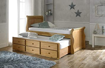 huge selection of 57634 47322 Artisan Captains Oak Guest Bed - 3 Drawer Storage - Pull Out Trundle Bed -  3FT Single