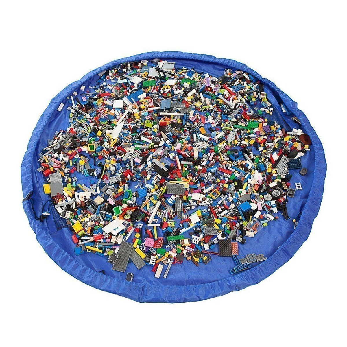 Jiele Portable Toy Storage Bag and Kids Toys organizer portaoggetti sacca Lego e altri giocattoli per bambini Fast sacchetto di stoccaggio giocattoli borse spiaggia zerbino tappeto da gioco (100CM, blu) Meichin