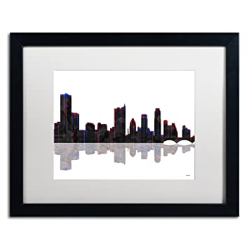 Amazon.com: Trademark Fine Art Austin Texas Skyline Artwork with ...