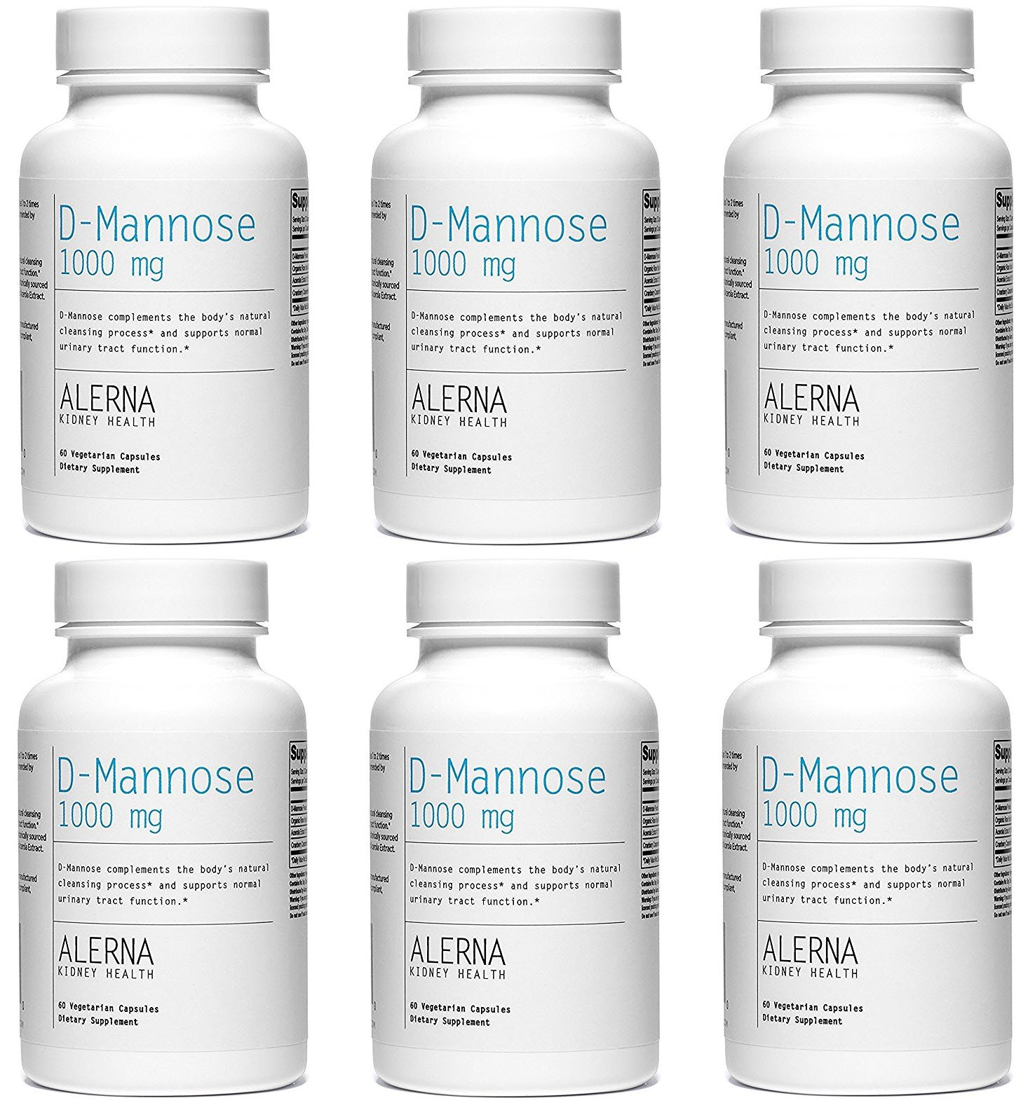 D-Mannose (1000mg) (W/Organic Rose Hips and Cranberry Concentrate) - Supports Normal Urinary Tract Function.* (6 Bottles)