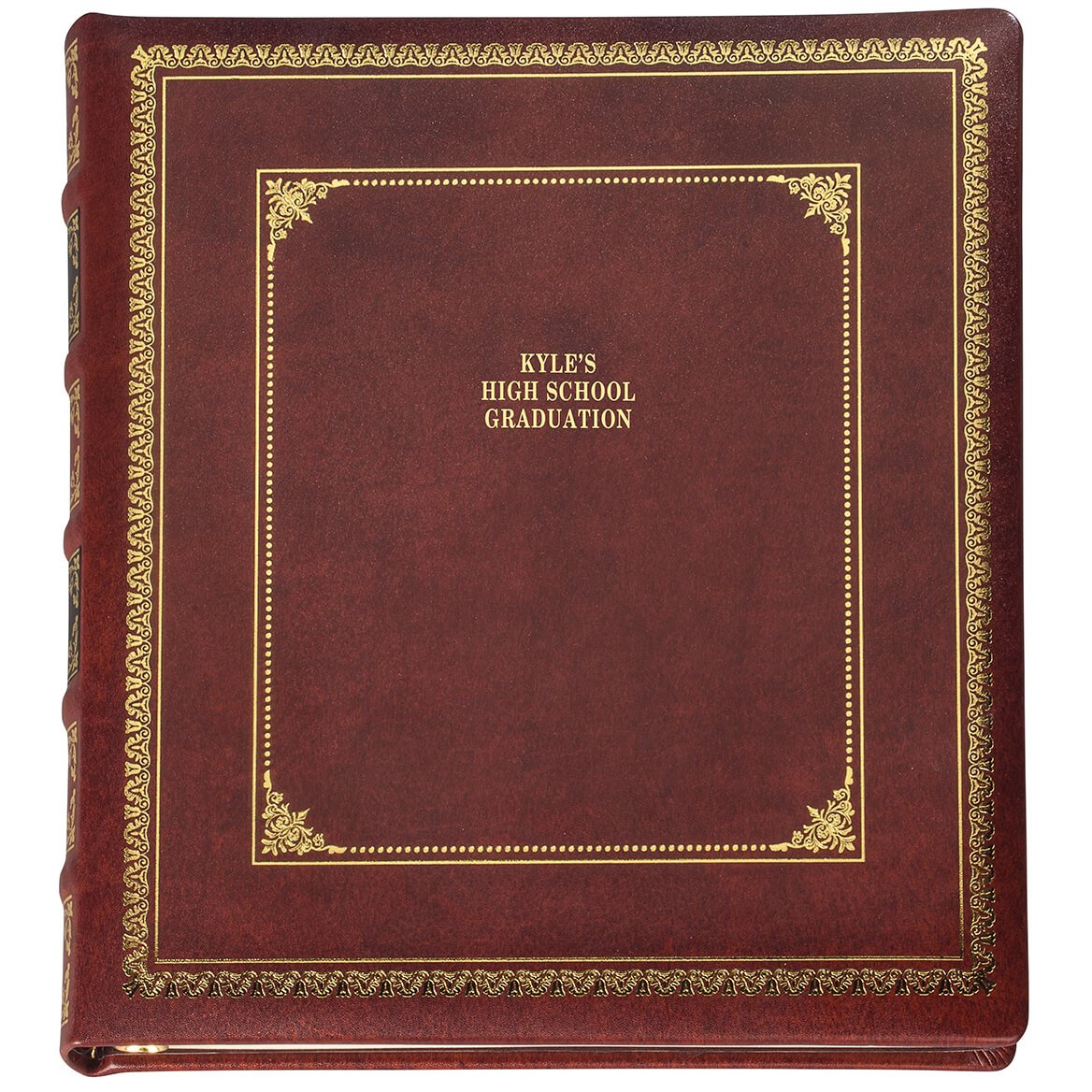 Personalized Library Leather Album - Brown 3 Lines