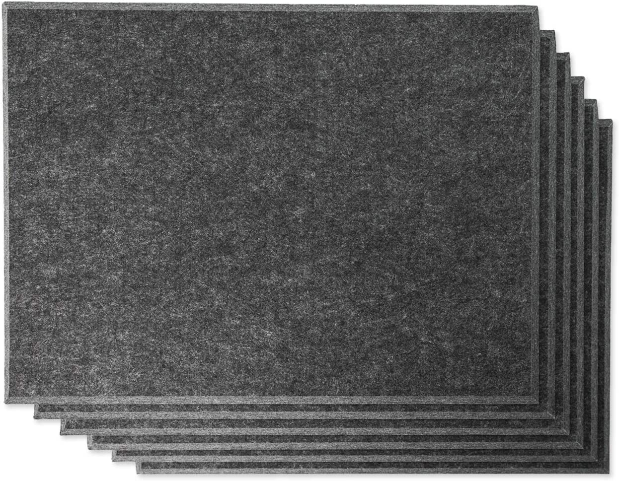 """Rhino Acoustic Absorption Panel 16"""" x 12"""" x 0.4"""" NRC Sound Proof Padding for Echo Bass Isolation Dark Gray 6 Pieces Beveled Edge for Wall Decoration and Acoustic Treatment"""