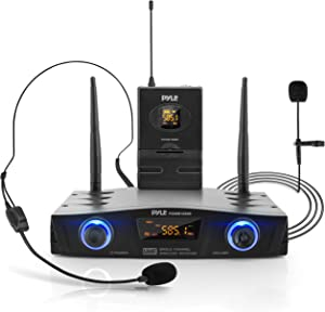 Compact UHF Wireless Microphone System - Pro Portable 1 Channel Desktop Digital Mic Receiver Set w/ Belt-Pack Transmitter, Receiver, Headset and Lavalier Mics, XLR, For Home, PA - Pyle PDWM1988B,Black