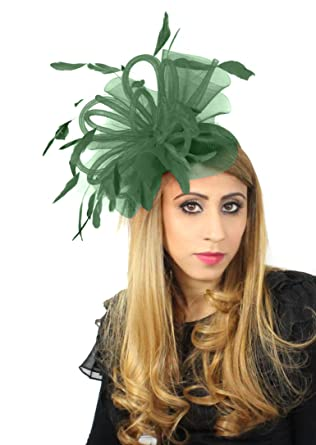 Black Velvet 8 Inch Sheer Ascot Kentucky Derby Fascinator Hat with Headband  - Army Green at Amazon Women s Clothing store  e2c88d9cfe38