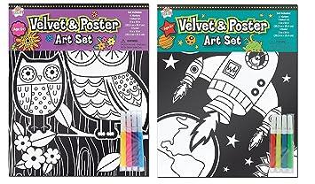 Velvet Art Coloring Posters Kids Craft Supplies Black Velvet ...