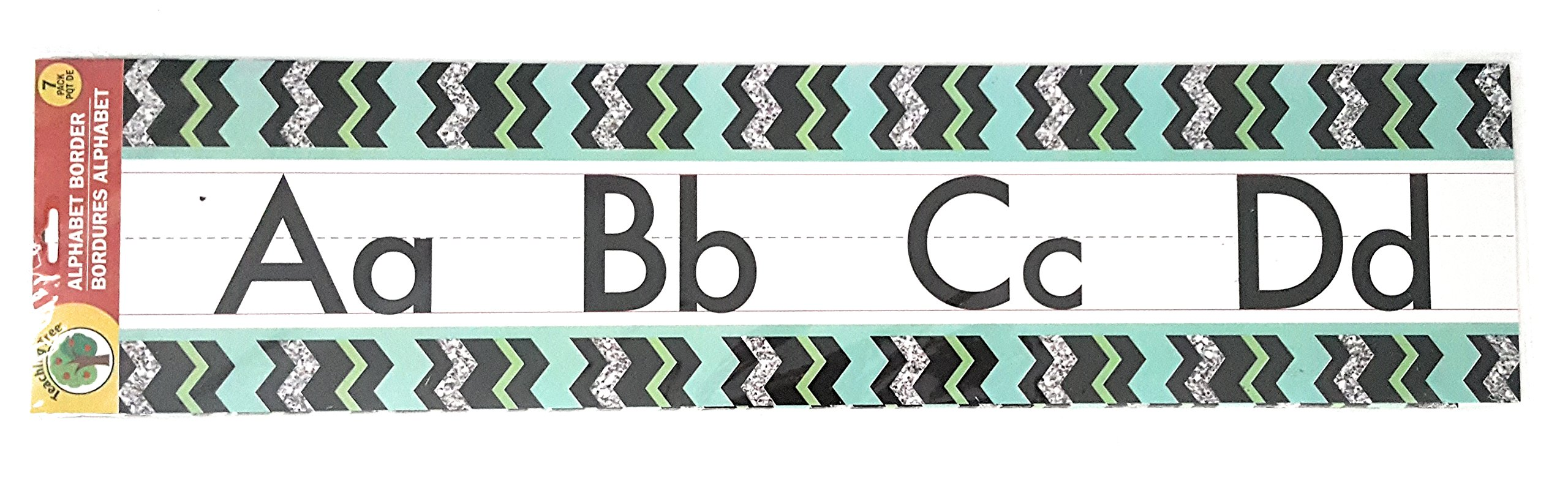 Teaching Tree Manuscript Alphabet Bulletin Back to School Board Creative Strips School Office Resources Scholastic Teacher Teacher's Bulletin Trim Wall Border Decal Classroom Decoration Black Zigzag