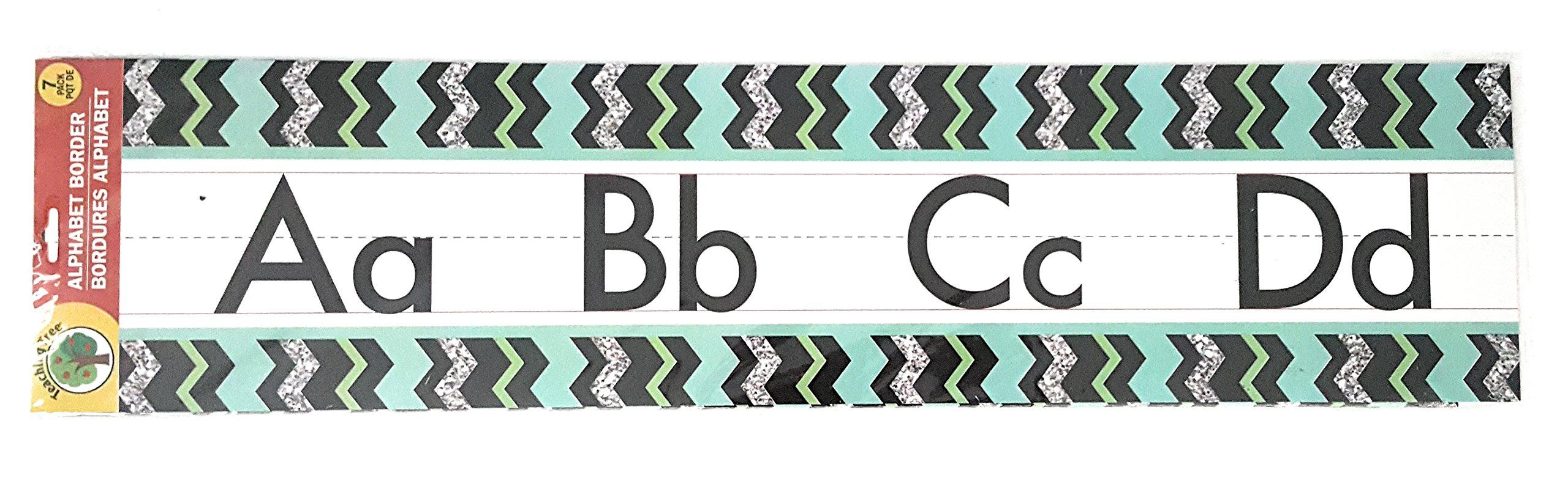 Teaching Tree Manuscript Alphabet Bulletin Back to School Board Creative Strips School Office Resources Scholastic Teacher Teacher's Bulletin Trim Wall Border Decal Classroom Decoration Black Zigzag 2