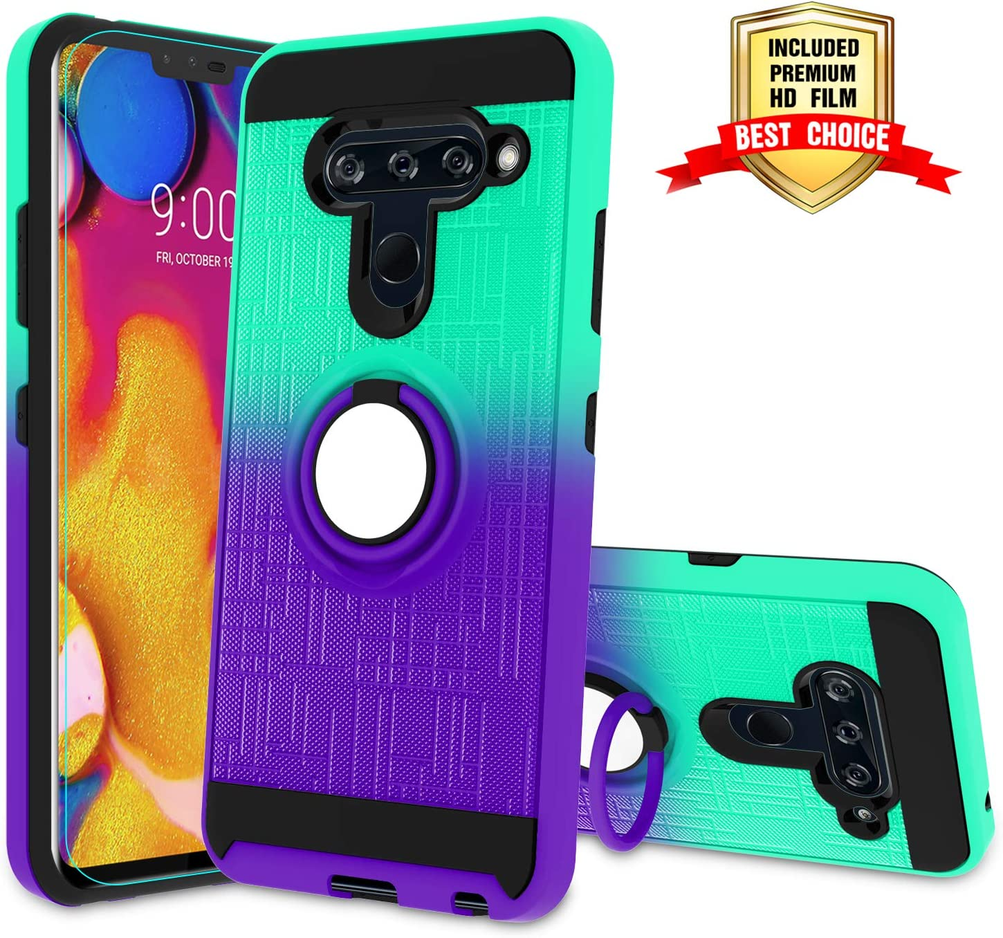 LG V40 Case, LG V40 ThinQ Phone Case with HD Screen Protector,Atump 360 Degree Rotating Ring Holder & Kickstand Bracket Dual Layers Cover Phone Case for LG V40 Mint/Purple