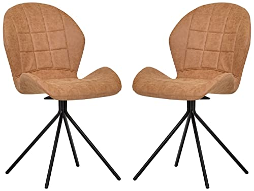 Rivet Rachel Set of 2 Space-Age Mid-Century Modern Swivel Dining Room Kitchen Desk Chairs, 35.2 Inch Height, Synthetic Leather, Light Brown