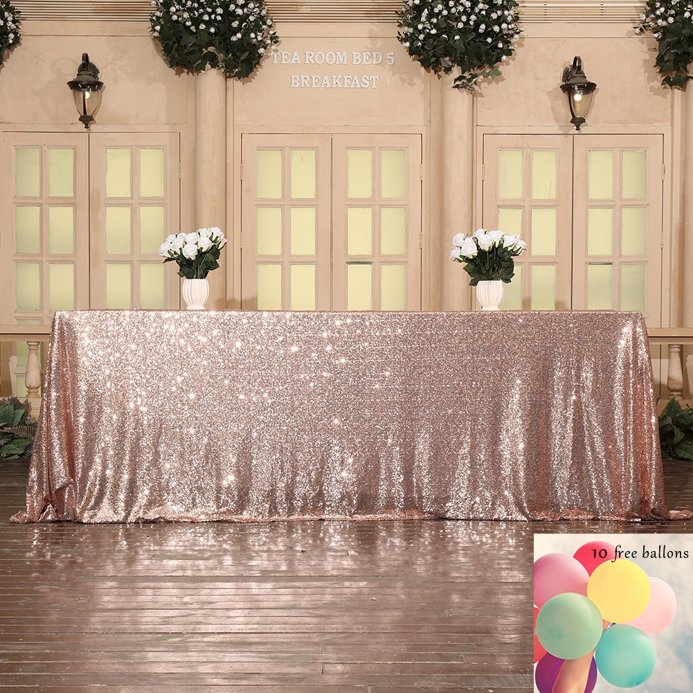 Poise3EHome 90x132 Sequin Tablecloth for Wedding Bridal Shower Party Decoration, Rose Gold by Poise3EHome