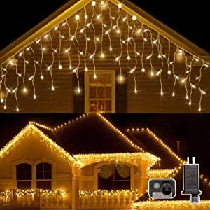 AWQ 400LED 32Ft Icicle Lights Curtain Fairy Light Icicle Christmas Outdoor Dripping Lights 8 Modes for Christmas Thanksgiving Wedding Party Home Garden Bedroom Indoor Outdoor Decor (Warm White)