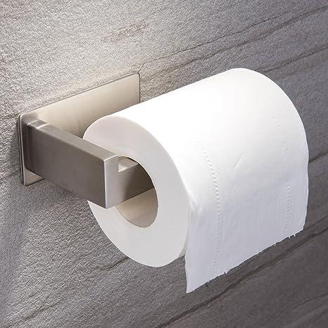 Portarrollo para Papel Higiénico,Ruicer Sujetador de papel Acero Inoxidable Autoadhesivo Montura de Pared , para Baño