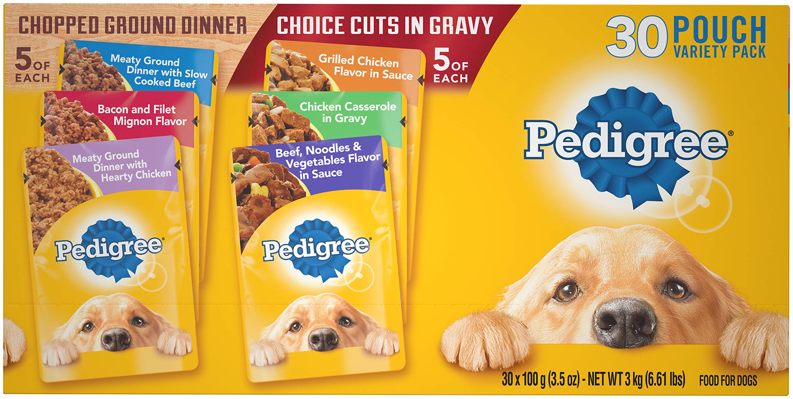 Pedigree Adult Wet Dog Food Chopped Ground Dinner & Choice CUTS in Gravy Food Variety Pack, (30) 3.5 oz. Pouches by Pedigree
