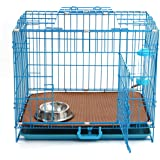 Folding Metal Dog Crate, 24'' Double-Doors Pet Cage Set with Removable ABS Plastic Floor Tray
