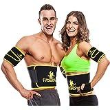 Waist Trimmer Ab Belt (1 Piece) & FREE Arm Trimmer (1 Pair) - Neoprene Trainer & Shaper - Slimming Flex Sauna Belt - Belly, Fat Loss, Weight Loss Belt - Ab Trainer, Back Brace, Abdominal Support