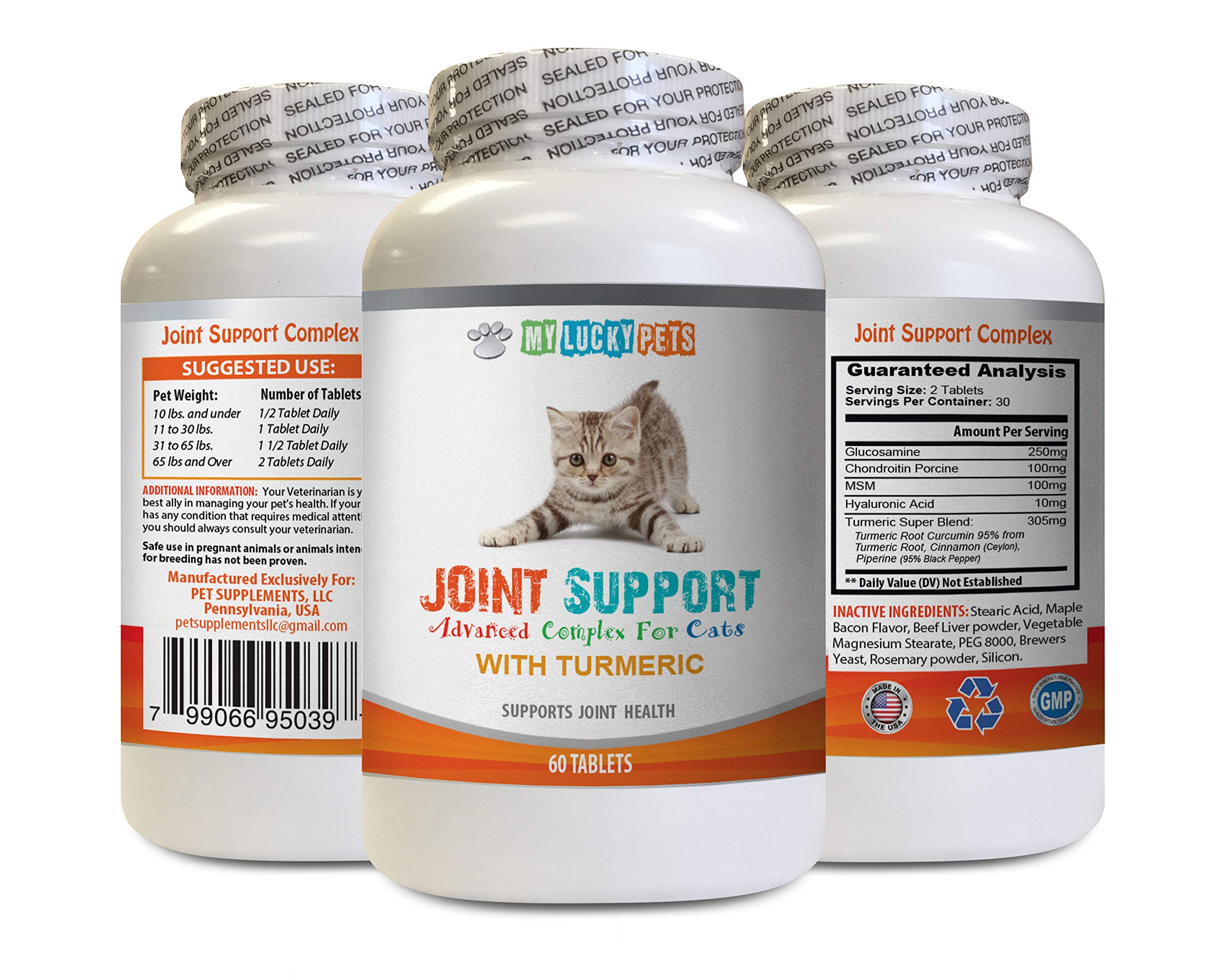 MY LUCKY PETS LLC Extend Joint Care for Cats - CAT Joint Support with Turmeric Complex - Hip Care - Premium MSM - glucosamine chondroitin msm for Cats - 1 Bottle (60 Chewable Tablets) by MY LUCKY PETS LLC