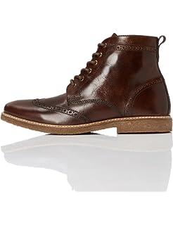 Find Zapato de Cordones Piel Grabada para Hombre, Marrón (Dark Brown), 45 EU