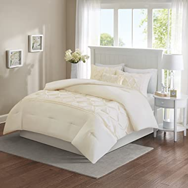 Comfort Spaces King Size Comforter Set – 5 Piece - Cavoy Comforter Set – Tufted Pattern – Ivory/Off White – King Size, Includes 1 Comforter, 2 Shams, 1 Decorative Pillow, 1 Bed Skirt