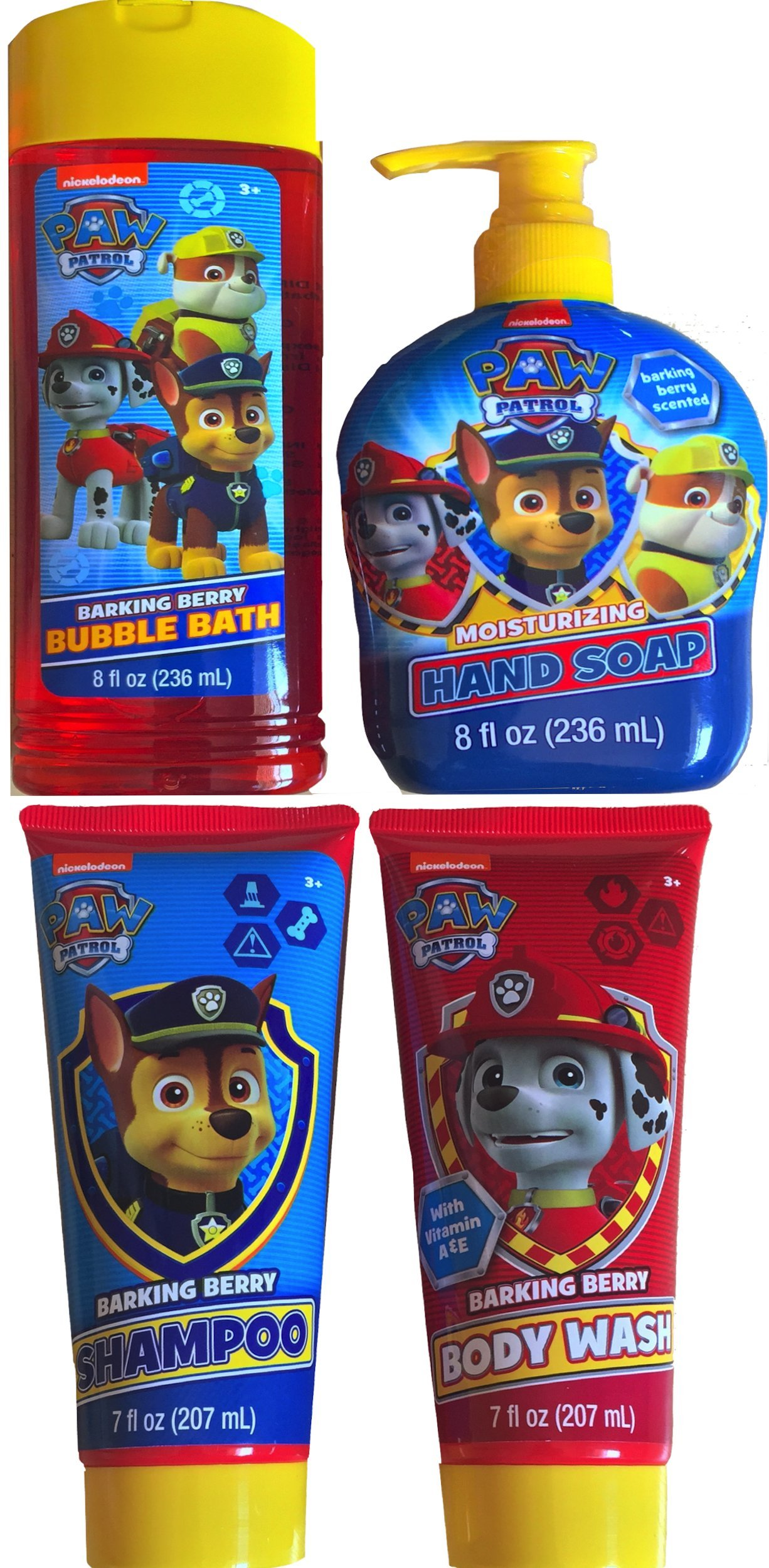 Paw Patrol Bathing Gift Set Includes Paw Patrol Bubble Bath , Barking Shampoo, Barking Berry Body Wash , Barking Moisturizing Hand Soap