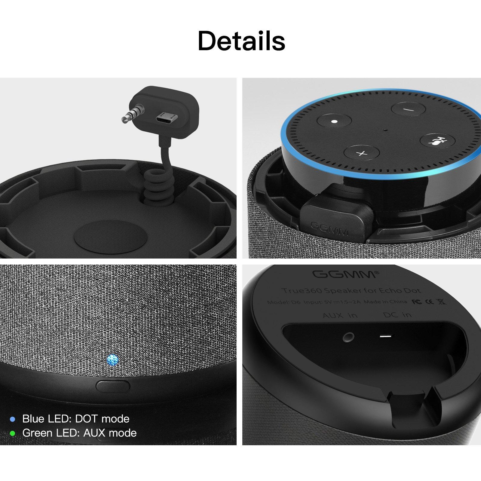 GGMM D6 Portable Speaker for Amazon Echo Dot 2nd Generation, 20W Powerful True 360 Alexa Speakers (DOT SOLD SEPARATELY) by GGMM (Image #5)