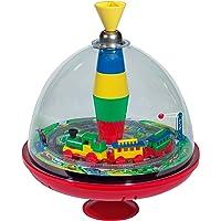 Lena tin toys 52301 - Doorzichtige draaitol met trein Ø 19 cm, kunststof bromtol, klassieke druktol, pomptol met…