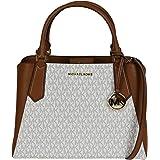Michael Kors Kimberly Large PVC/Pebble Leather Satchel Crossbody Bag