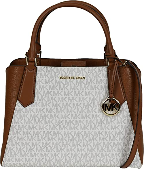 Michael Kors Kimberly Large PVCPebble Leather Satchel Crossbody Bag