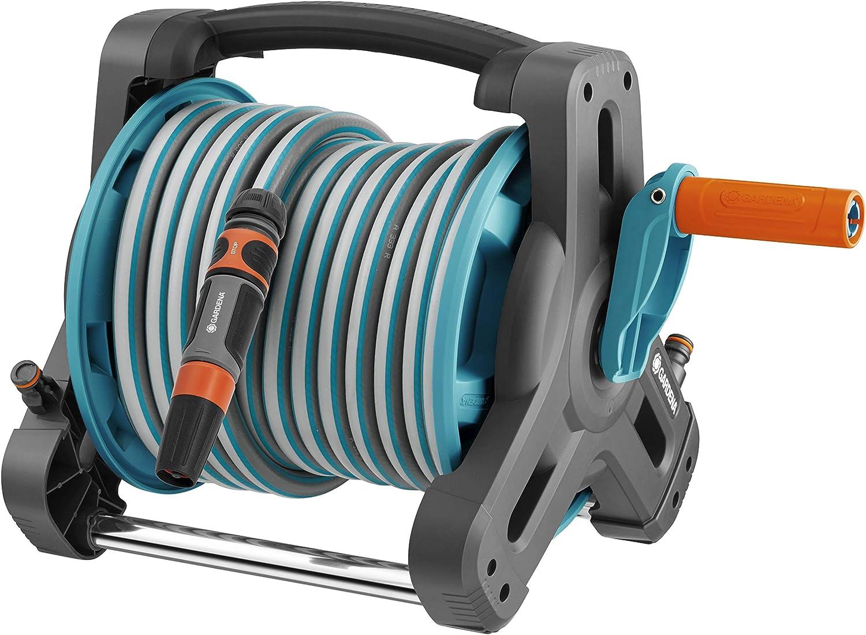 GARDENA Hose Reel - Includes (1/2'' x 33' Hose + 5' Leader Hose), Blue and Grey (8010)