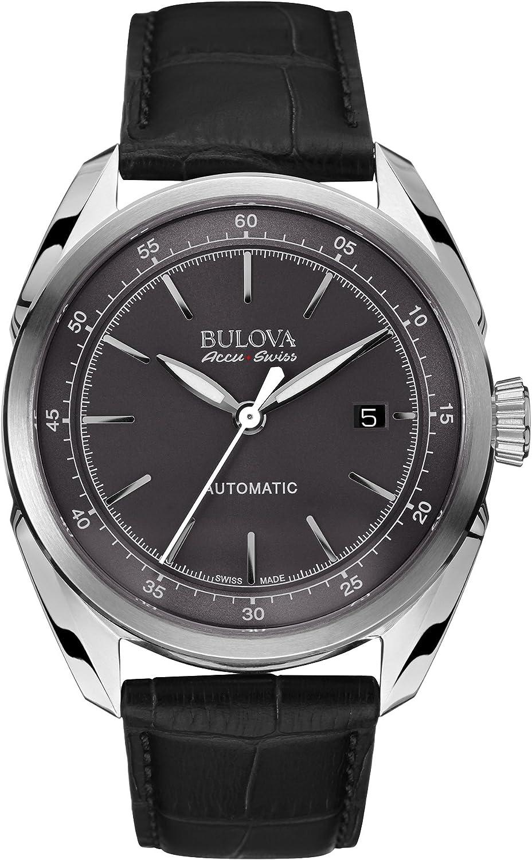 Bulova Accu Swiss 63B188 Mens Accu Swiss Black Leather Strap Watch
