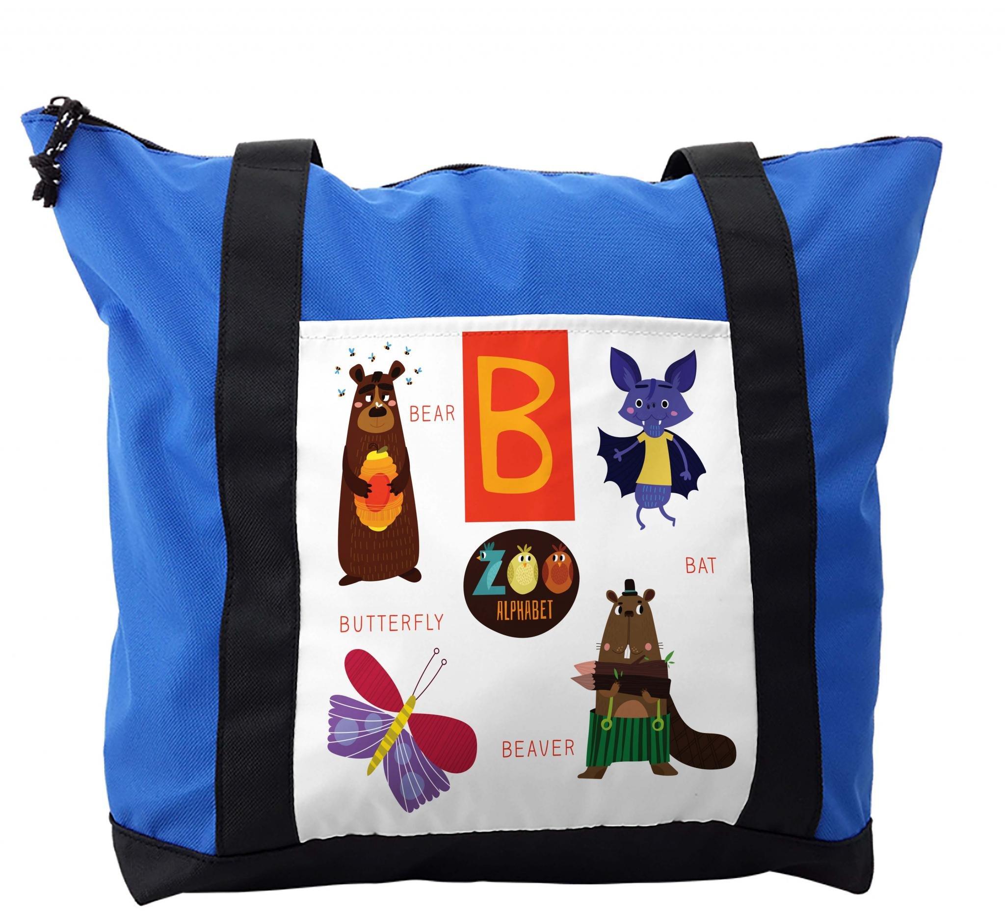 Lunarable ABC Kids Shoulder Bag, Bat Butterfly and Beaver, Durable with Zipper