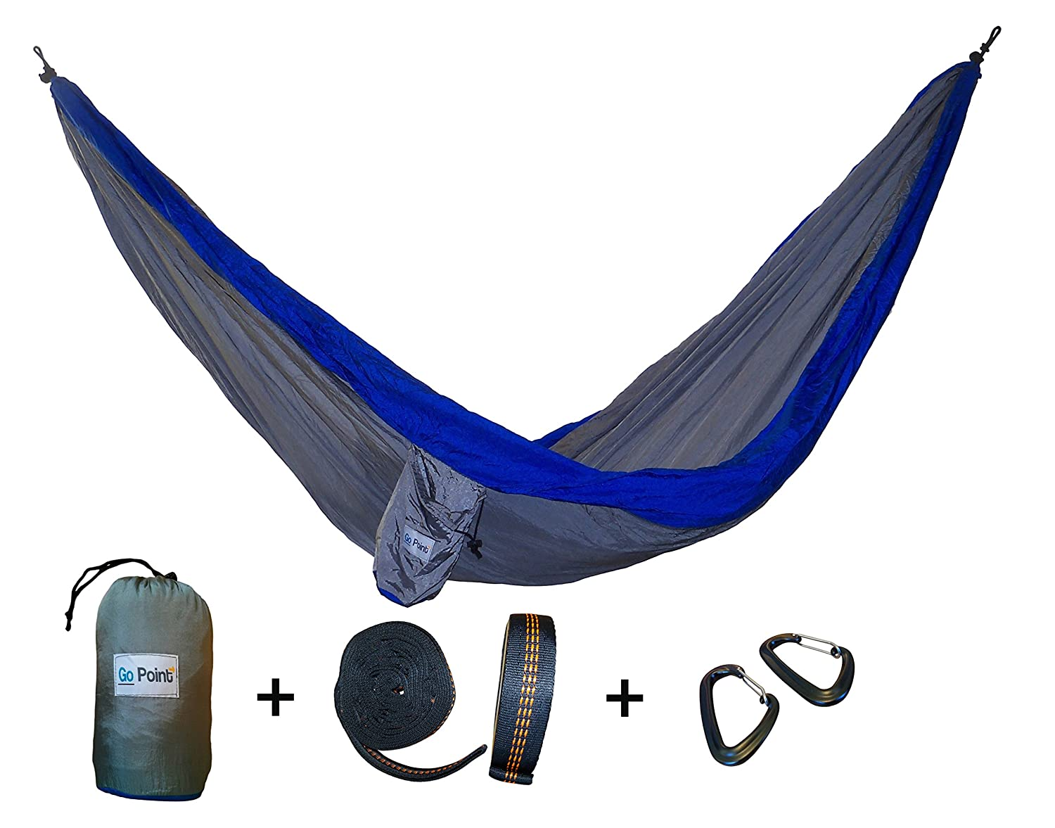 Gopoint Premium Double Parachute Hammock with Tree Straps – Quick and Easy to Hang Portable Lightweight Nylon Camping Hammock
