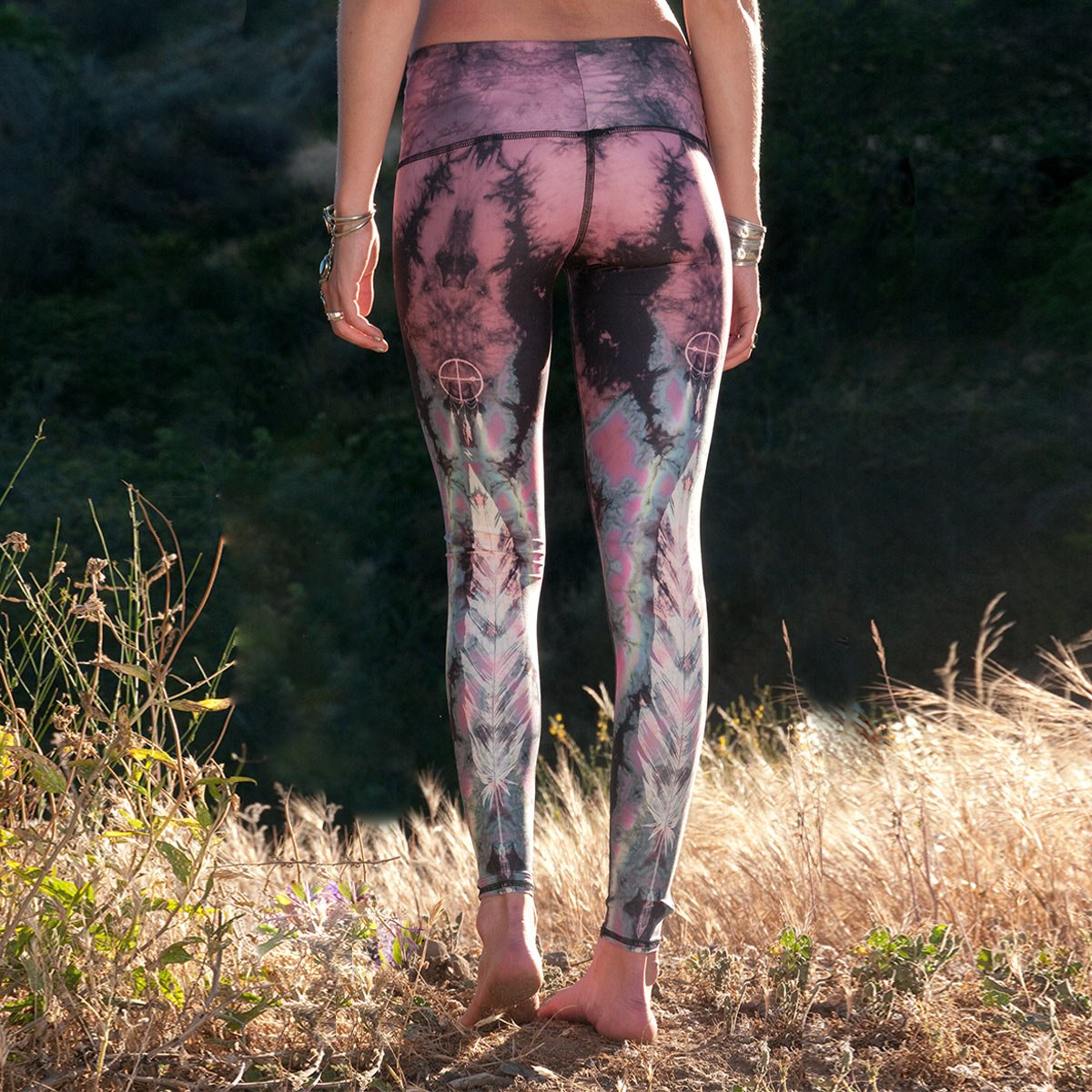 Teeki Eagle Plumas Rosa Caliente - Pantalones de yoga para ...