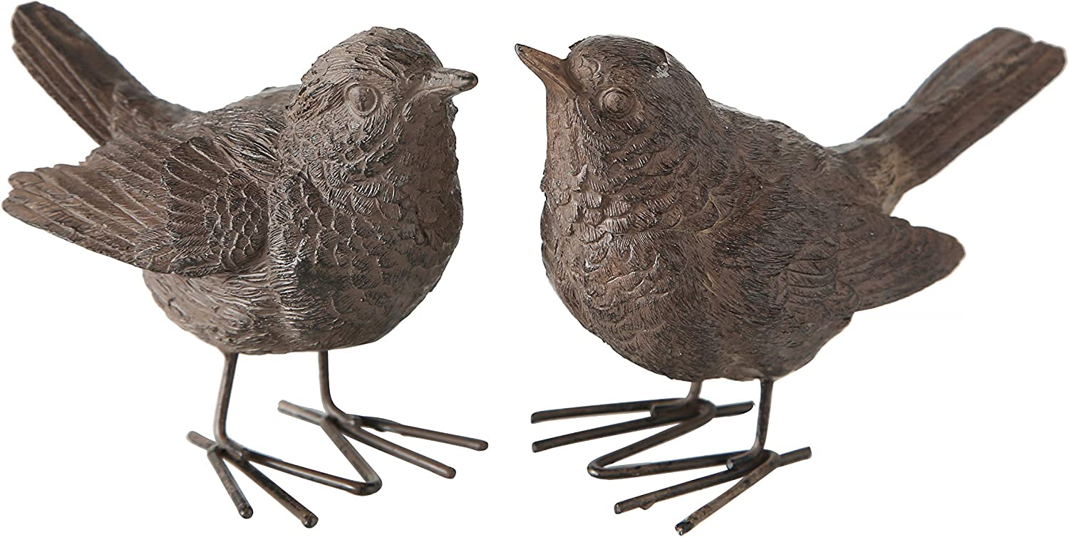 WHW Whole House Worlds Baby Sparrows, Set of 2, Bird Figurines, Vintage Style, Rustic Brown, Detailed Feathers, Table Top Accent Sculpture, Hand Cast Poly Resin, 4 L x 2 1/2 Tall