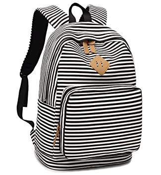b7656bd964 Amazon.com  BLUBOON Canvas School Backpack Teen Girls Bookbag Striped Women  Travel Laptop Daypack (Black White)  SUPON
