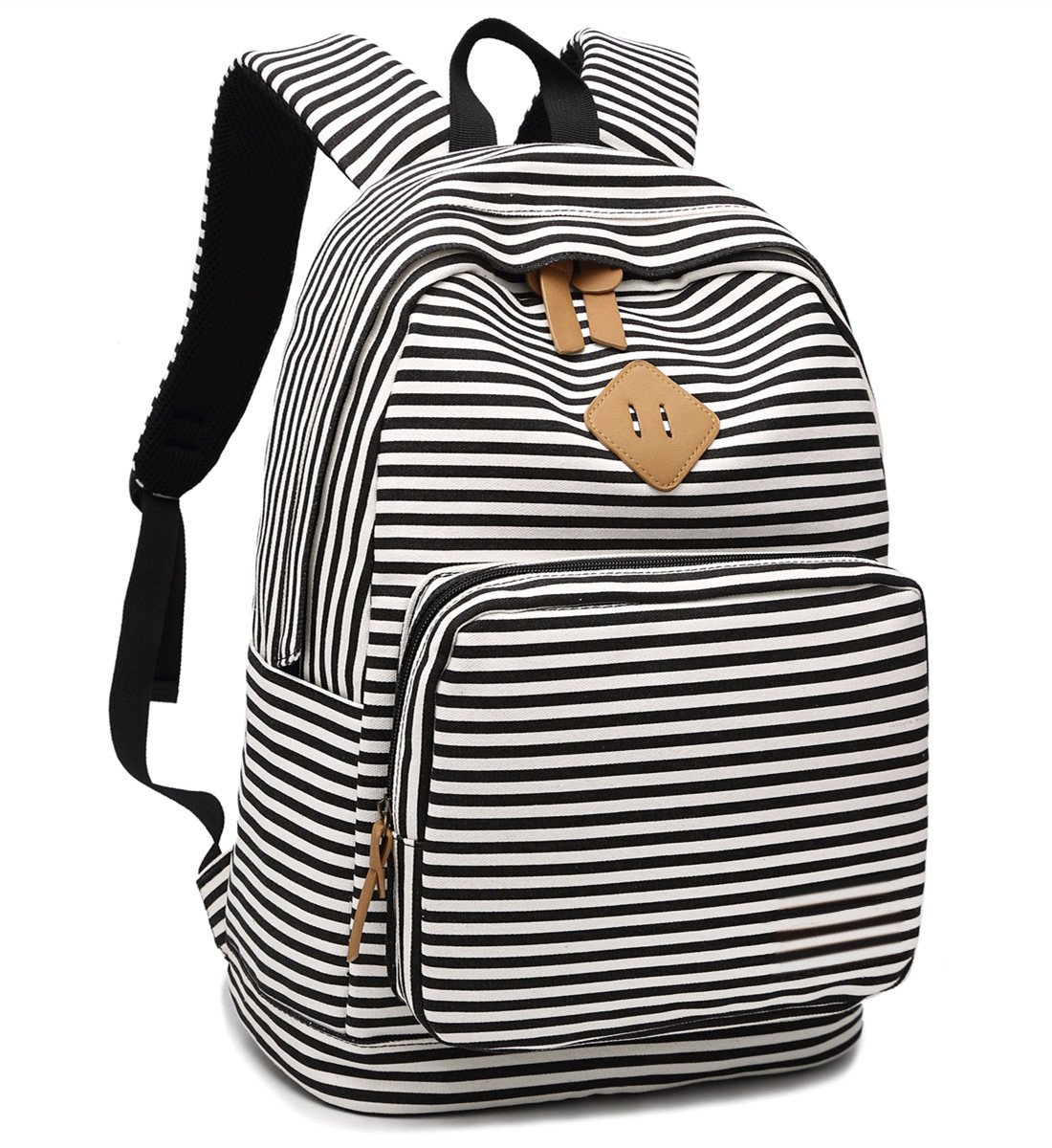 BLUBOON Canvas School Backpack Teen Girls Bookbag Striped Women Travel Laptop Daypack (Black White)