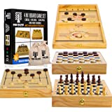 4 in 1 Board Game Set - Extra Large Sling Puck Game Wooden Chess Board Sets, Checkers Board Game for Adults and Nine Mens Mor