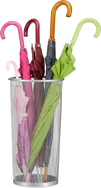 m/étal 49,5 x 26 cm Apparence de Grille Blanc Relaxdays 10032562 Porte-Parapluie Acier 1 Rond pour parapluies /& Cannes de Marche