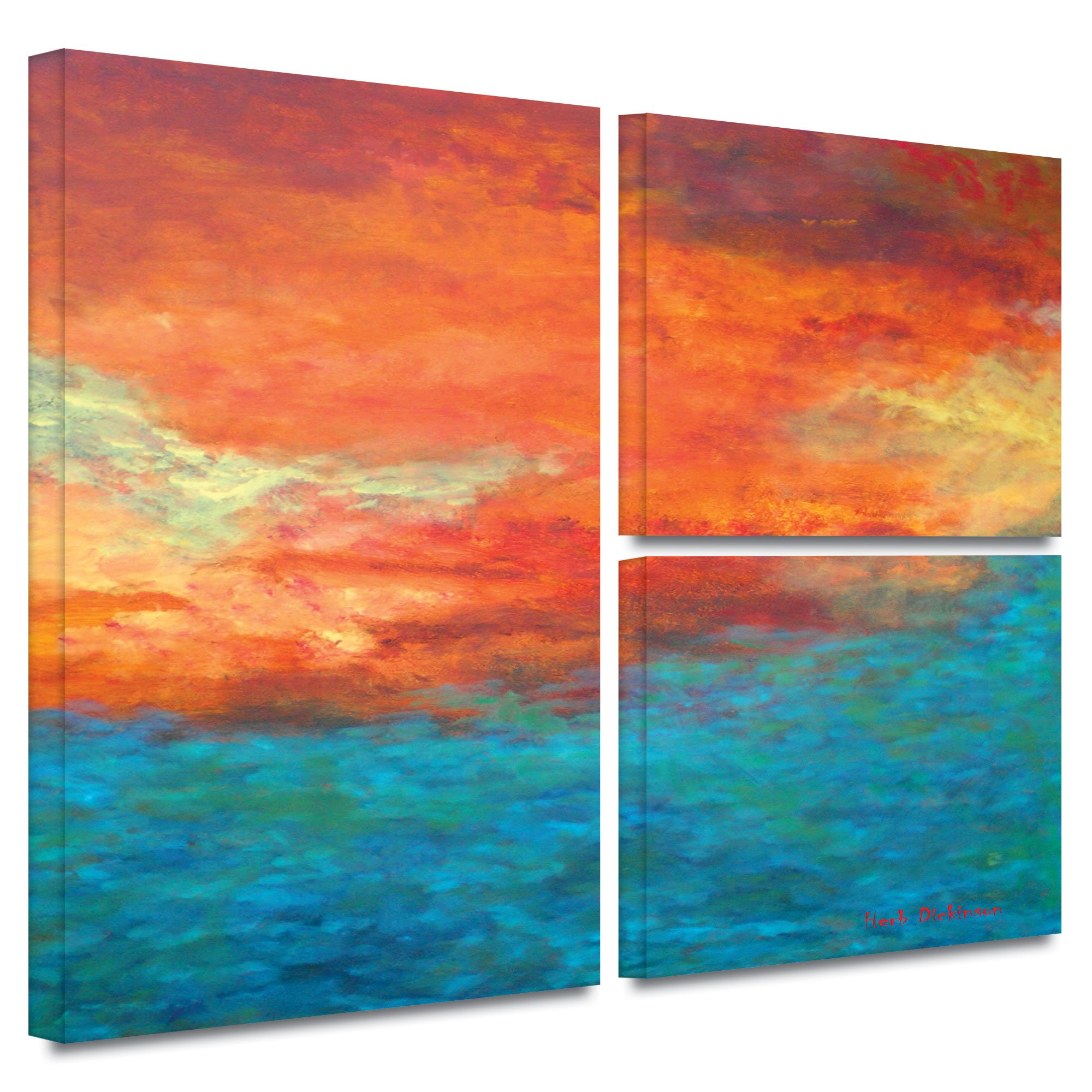 ArtWall Herb Dickinson 'Lake Reflections II' Flag 3-Piece Gallery Wrapped Canvas Artwork, 24 by 36-Inch