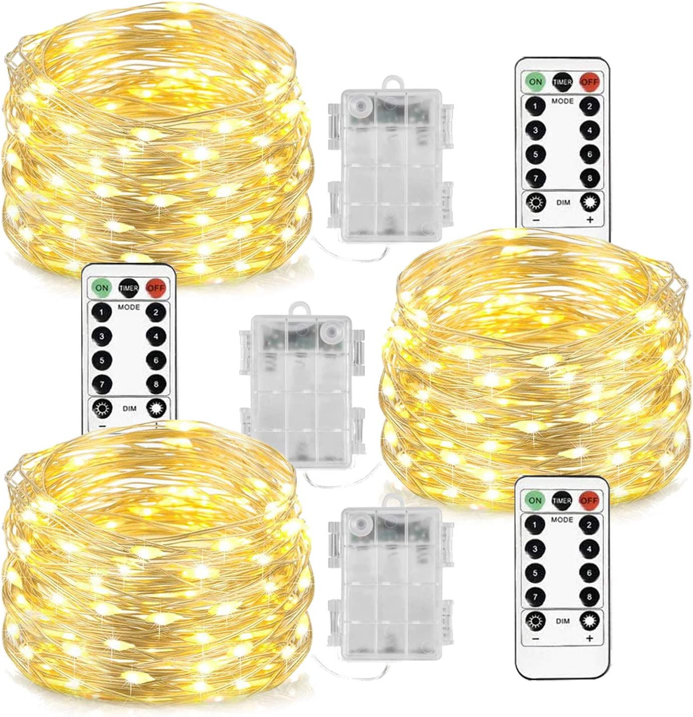 Homemory 3 Pack Fairy Lights with Remote, 100FT Battery Operated Long String Lights, 8 Modes Copper Wire Halloween Twinkle Lights Valentines Day Decor, Indoor&Outdoor Waterproof, Warm White