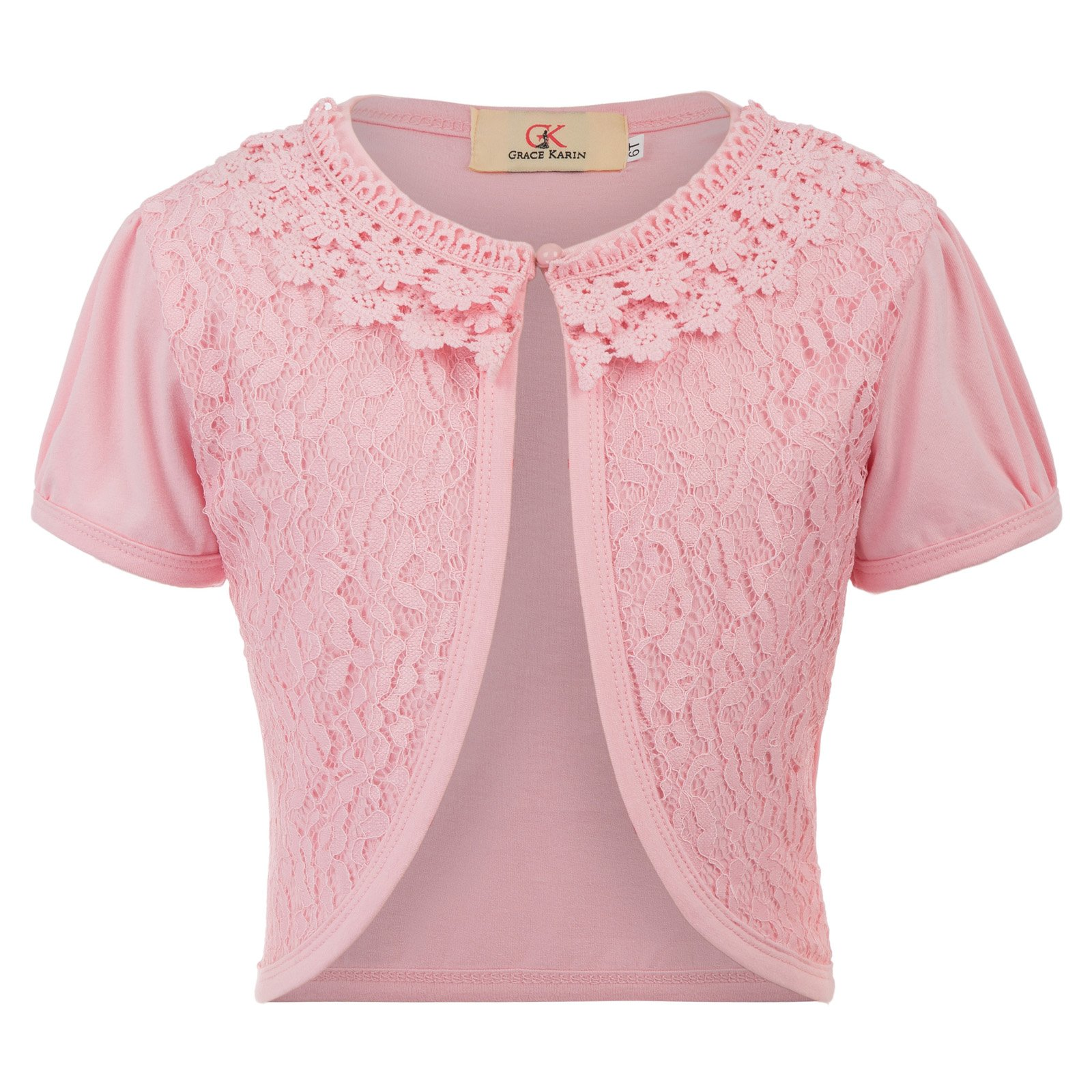 GRACE KARIN Little Girls' Short Sleeve Sweater Cardigan Diamond Knit Bolero Shrug 7T CL774-1