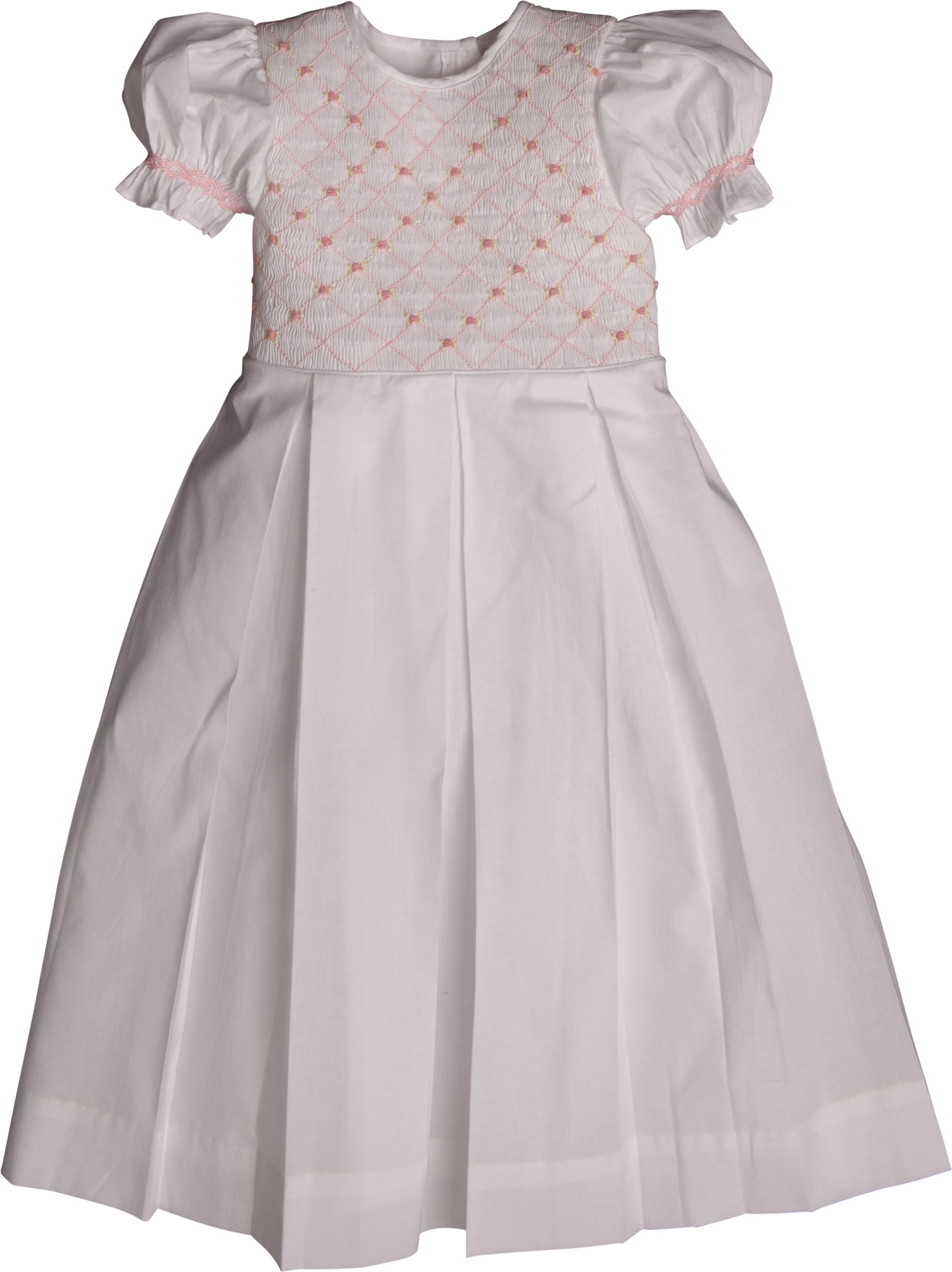 Strasburg Children Little Girls Addison Smocked Dress White With Pink Embroidery Birthday Dress (4)
