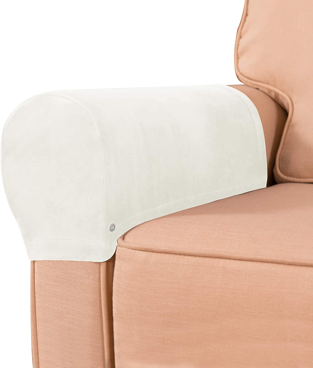 subrtex Velvet Armchair Covers Spandex Stretch Armrest Covers Couch Furniture Protector Armchair Slipcovers for Sofa with Free Twist Pins(White,2pcs)