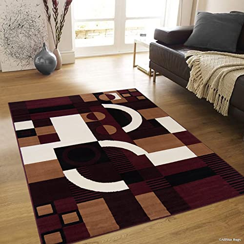 Allstar 5×7 Burgundy and Mocha Modern and Contemporary Rectangular Accent Rug with Ivory and Black Geometric Abstract Design 5 2 x 7 0