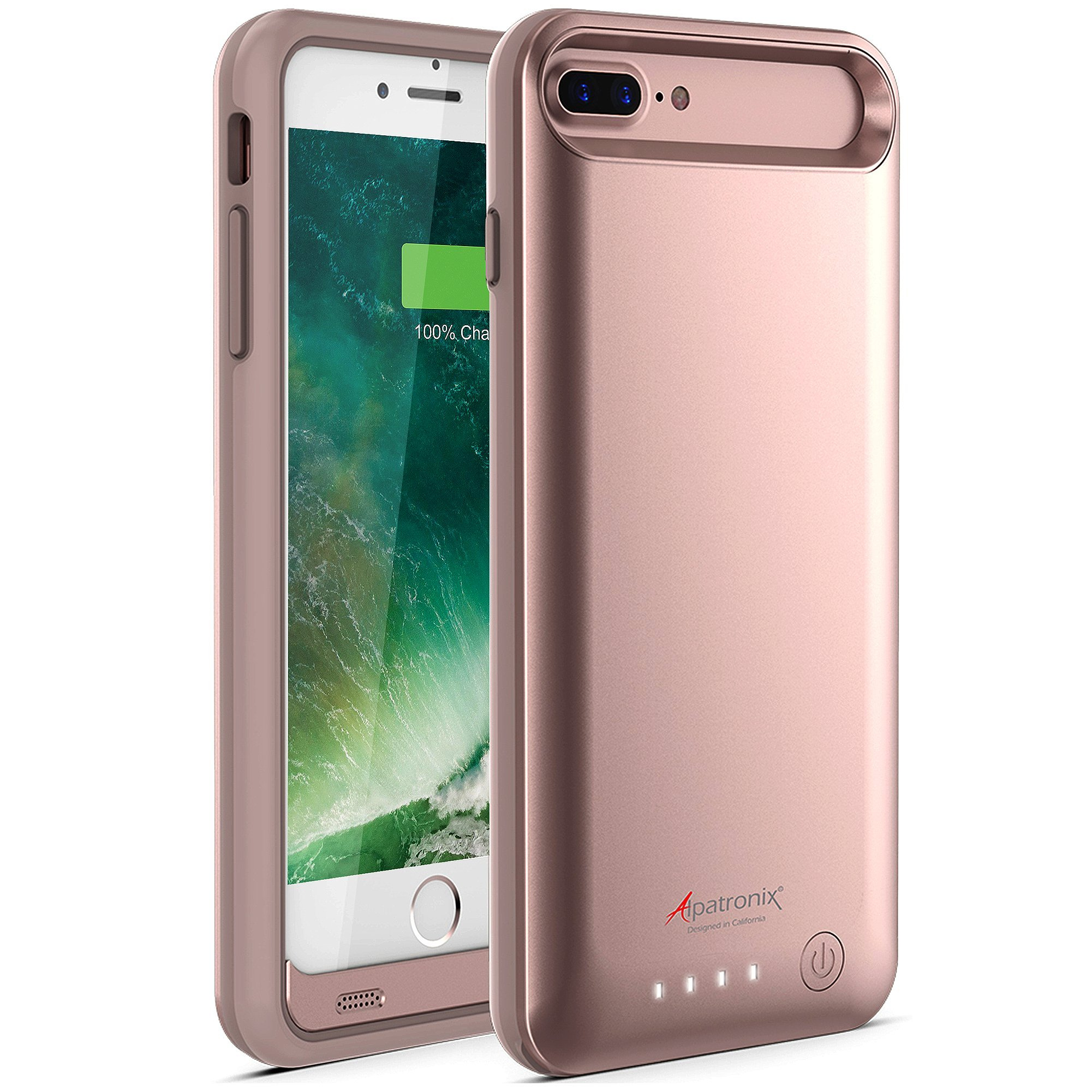 iPhone 8 Plus/iPhone 7 Plus Battery Case, Alpatronix BX170plus (5.5-inch) 4200mAh Rechargeable Protective Portable Power Charging Case for iPhone 7+ 8+ [Apple Certified Chip, iOS 11+] - Rose Gold
