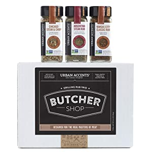 Urban Accents BUTCHER SHOP, Gourmet Grilling Spices Rub Gift Set (Set of 3) - Ultimate BBQ Rubs and Sauces Gift for Grill Masters- Perfect Grilling Gift Baskets for Men