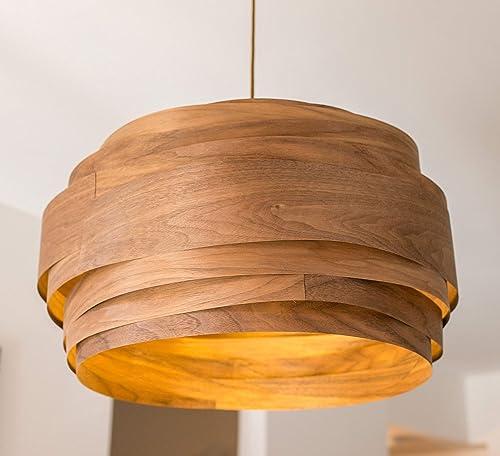 Amazon Com Modern Pendant Light Black Walnut Wood Veneer